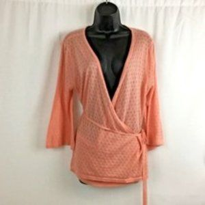 APOSTROPHE Coral Wrap Around Tie Front Sweater NWT